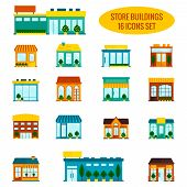 stock photo of local shop  - Store shop front window buildings icon set flat isolated vector illustration - JPG