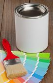 Color Chart Guide With Brush And Paint Bucket
