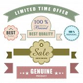Limited edition retro sale tag, label, ribbon & badge with genuine and best quality products.