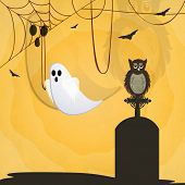 Halloween poster, banner or flyer design with traditional ghost, scary owl sitting on grave stone on