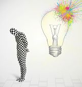 3d human character is body suit morphsuit looking at abstract colorful lightbulb