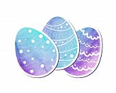 Easter eggs of watercolor texture