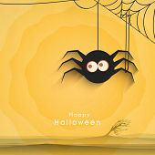 Scary spider hanging by web on grungy yellow background for Halloween night party poster, banner or