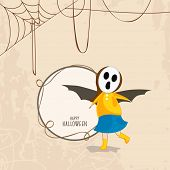 Trick or Treat party concept with little girl in skull mask and bat wings on spider web background a