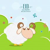 Muslim community festival of sacrifice Eid-Ul-Adha greeting card design with sheep on nature backgro