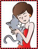 woman hugging a kitten