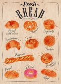 stock photo of pretzels  - Bakery products painted watercolor poster with different types of bread products - JPG