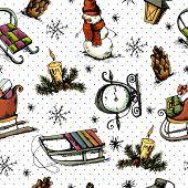 Hand-drawn Christmas Seamless Background