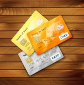 Set of detailed glossy credit cards