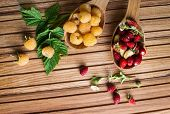 Постер, плакат: Berries on Wooden Background Summer or Spring Organic Berry over Wood Strawberries Raspberries