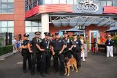NYPD transit bureau K-9 police officers and K-9 dog providing security at National Tennis Center