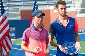 US Open 2014 boys junior champion Omar Jasika from Australia (left) and finalist Quentin Halys