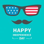 Glasses And Mustaches. Happy Independence Day United States Of America. 4Th Of July.