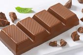 detail of chocolate bar on white plastic cutting board