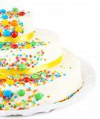 Beautiful tasty birthday cake, isolated on white
