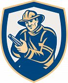 Fireman Firefighter Aiming Fire Hose Shield Retro