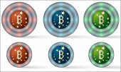 Set Of Six Icons With Bitcoin Symbol