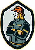 Fireman Firefighter Arms Folded Shield Retro