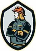 Fireman Firefighter Arms Folded Shield Retro