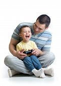 Child Boy And His Father Play Together