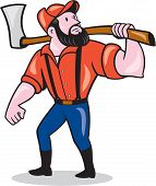 Lumberjack Holding Axe Cartoon
