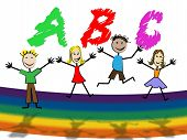 Abc Education Represents Alphabet Letters And College