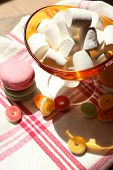 Sweet marshmallows on table, close-up