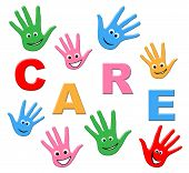 Kids Care Means Look After And Children