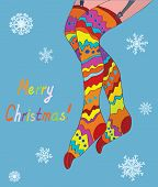 Merry christmas card with girl legs in stockings and snow