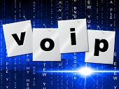 pic of voip  - Voip Communication Showing Voice Over Broadband And Communications - JPG