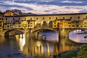 Ponte Vecchio Bridge In Evening Illumination