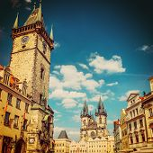 Tyn cathedral church and famous Astronomical Clock, Prague, Czech Republic . instagram effect