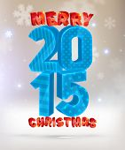 Merry Christmas 2015 Holiday Design. For Greeting Card, Xmas Posters and Flyers. Blurred Snowflakes.
