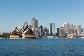 picture of highrises  - Sydney Skyline across the harbour from North Sydney with city buildings and Opera House - JPG