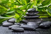 zen basalt stones and bamboo on the black