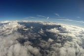 Aerial View - Alps, Clouds and Blue Sky - 4500m