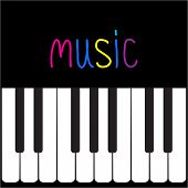Piano Keys And Colorful Word Music. Card