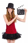Pretty girl in red polka dot dress with movie board  isolated on white