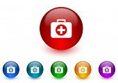 first aid internet icons colorful set