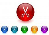 scissors internet icons colorful set