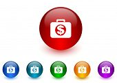 financial internet icons colorful set