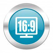 16 9 display internet blue icon