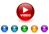 video internet icons colorful set
