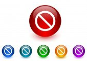 access denied internet icons colorful set
