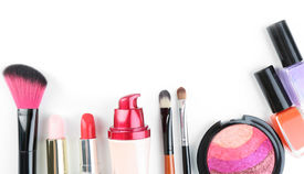 picture of cosmetic products  - Beautiful decorative cosmetics and makeup brushes - JPG