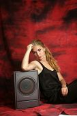 The girl with a subwoofer