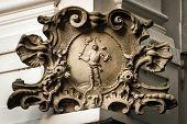 Baroque Stone Cartouche On The Corner Of The House In Bratislava, Slovakia