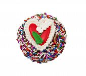 Delicious chocolate cupcake with heart