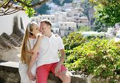 Bride And Groom Smiling In Wedding Day, Positano