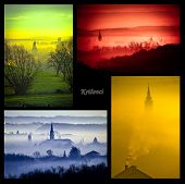 Town Of Krizevci Four Colors Collage